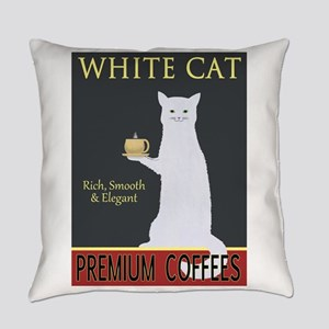 White Cat Coffee Everyday Pillow