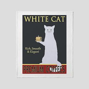 White Cat Coffee Throw Blanket