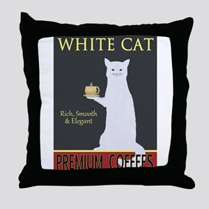 White Cat Coffee Throw Pillow