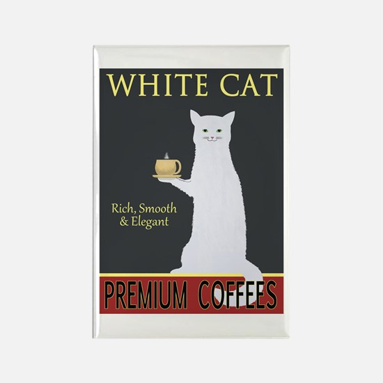 White Cat Coffee Rectangle Magnet