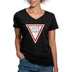 Give Way Women's V-Neck Dark T-Shirt