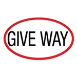 Give Way Oval Sticker