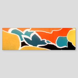 hippie yellow teal mod pattern Bumper Sticker
