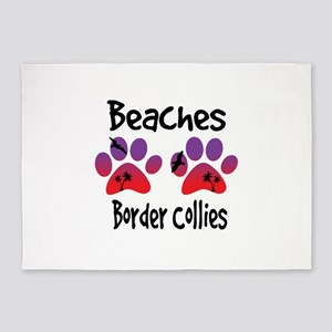 Beaches and Border Collies 5'x7'Area Rug