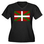 Basque Flag Women's Plus Size V-Neck Dark T-Shirt