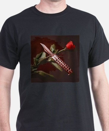 Rose and balisong-cropped-dry brush (crop 1) T-Shi