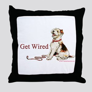 Wire Fox Terrier Dog Walk Throw Pillow