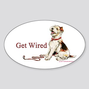 Wire Fox Terrier Dog Walk Oval Sticker