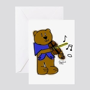 Bear with Violin Greeting Card