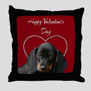 Valentines Dachsund Throw Pillow