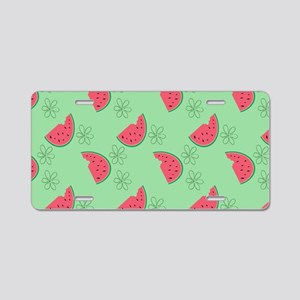 Watermelon Flowers Aluminum License Plate