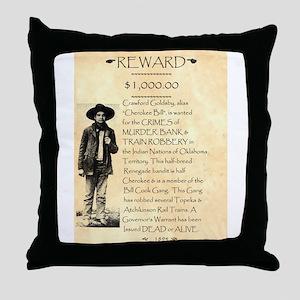 Wanted Cherokee Bill Throw Pillow
