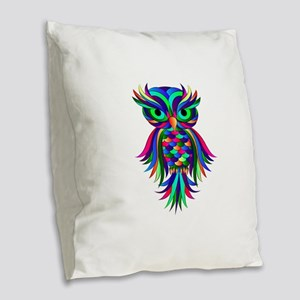 Owl Design Burlap Throw Pillow
