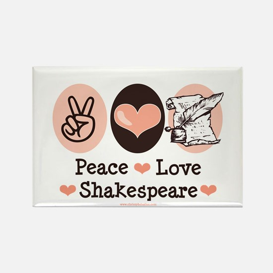 Peace Love Shakespeare Rectangle Magnet