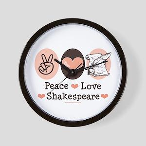 Peace Love Shakespeare Wall Clock