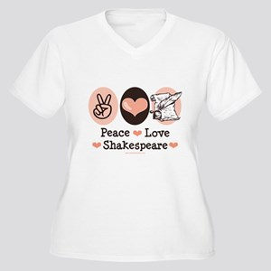 Peace Love Shakespeare Women's Plus Size V-Neck T-