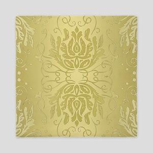 Elegant Gold Floral Damask Queen Duvet