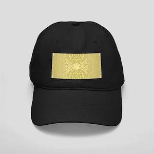 Elegant Gold Floral Damask Black Cap with Patch