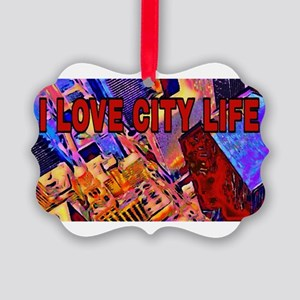 I LOVE CITY LIFE Picture Ornament