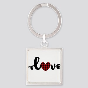 Buffalo Plaid Love Keychains