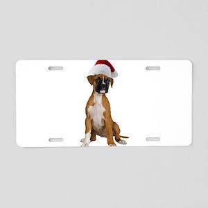 Santa Boxer Aluminum License Plate