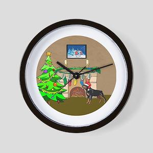 Santa Rottweiler Christmas Wall Clock