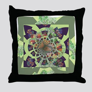 Cactus Fractal Throw Pillow
