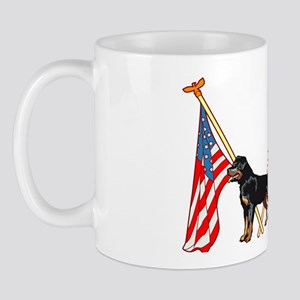 American Flags Rottweiler Mug