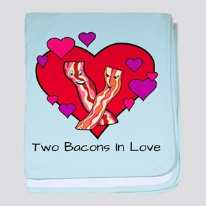 Two Bacons In Love baby blanket