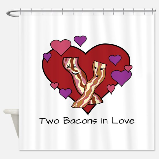 Two Bacons In Love Shower Curtain