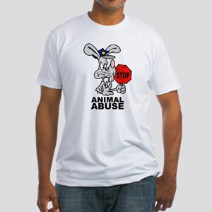 Stop Animal Abuse Fitted T-Shirt