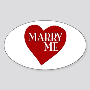 Marry Me Valentine's Day Oval Sticker