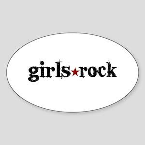 Girls Rock Oval Sticker