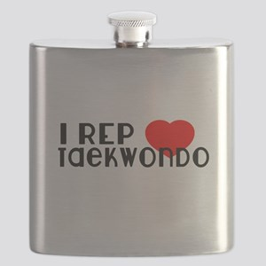 I Rep Taekwondo Sports Designs Flask