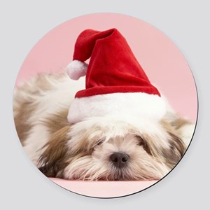 CHRISTMAS PUP Round Car Magnet