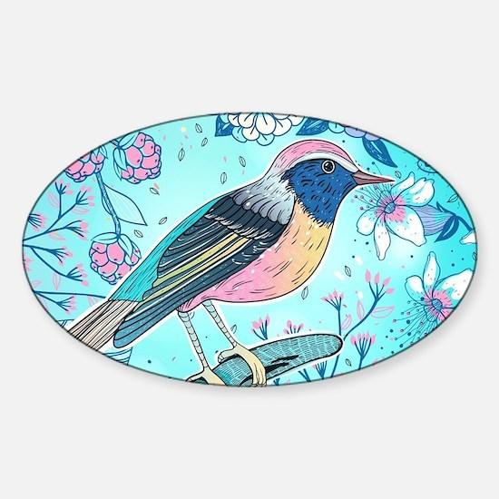 Colorful Bird Sticker (Oval)