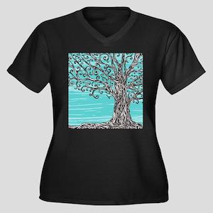 Decorative T Women's Plus Size V-Neck Dark T-Shirt