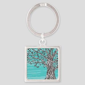 Decorative Tree Square Keychain