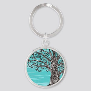 Decorative Tree Round Keychain