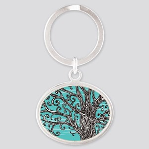 Decorative Tree Oval Keychain