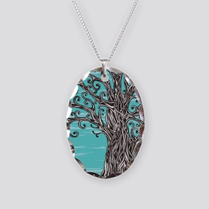 Decorative Tree Necklace Oval Charm