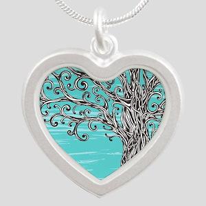 Decorative Tree Silver Heart Necklace