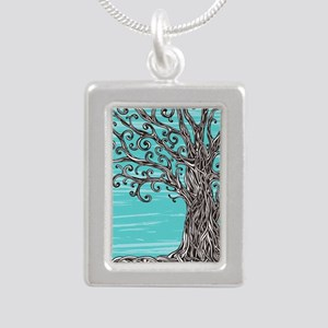Decorative Tree Silver Portrait Necklace