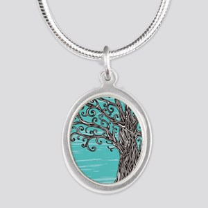 Decorative Tree Silver Oval Necklace