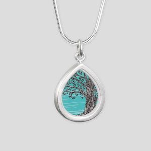 Decorative Tree Silver Teardrop Necklace