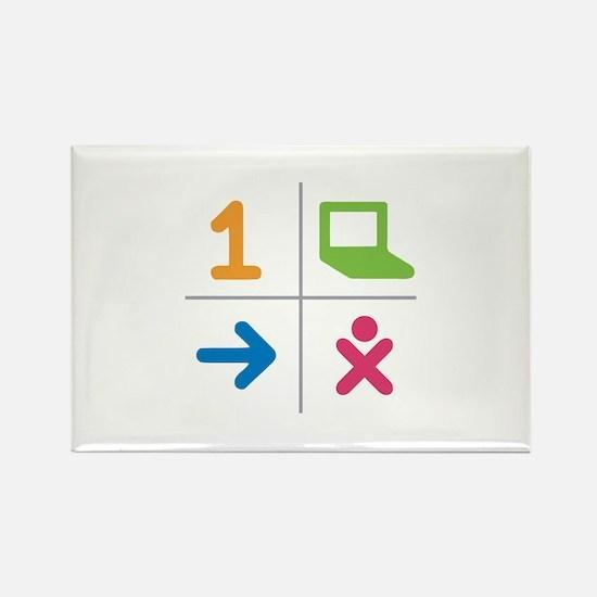 4 Square Logo No Text Rectangle Magnet