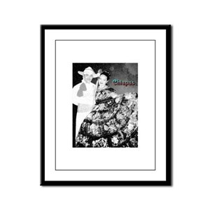 Chiapas Couple Charcoal Sketch Framed Panel Print