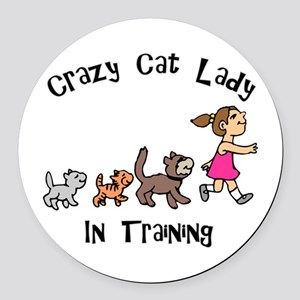Crazy Cat Lady Trainee Round Car Magnet