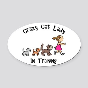 Crazy Cat Lady Trainee Oval Car Magnet