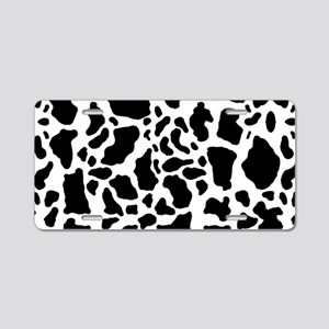 Cow Print Pattern Aluminum License Plate